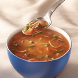 Bowl of tomato vegetable soup Stock Photos