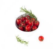 Bowl with tomatoes and rosemarie. On white royalty free stock image