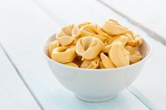 Bowl of tortellini raw Royalty Free Stock Photos