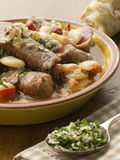 Bowl of Toulouse Sausage and Butter Bean Ragout Stock Photo
