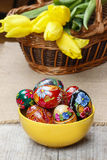 Bowl of traditional easter eggs Royalty Free Stock Images