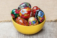Bowl of traditional easter eggs Stock Photography