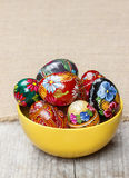 Bowl of traditional easter eggs Stock Photo