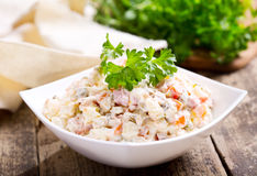 Bowl of traditional russian salad royalty free stock photo