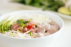 A bowl of traditional Vietnamese Pho noodle.  Royalty Free Stock Photography