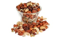 Bowl of trail mix Stock Photos