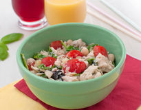 Bowl with tuna salad in bright colors Royalty Free Stock Photos