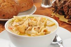 Bowl of turkey soup Stock Image
