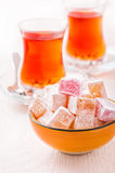 Bowl with Turkish delight cubes Stock Images