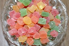 Bowl of turkish delight. Traditional turkish sweet and tasty dessert. Turkish delight lokum royalty free stock images