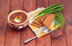 Bowl of Ukrainian borscht, brown bread, green onion and spoon Stock Photography