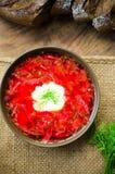 Bowl of Ukrainian traditional beetroot soup borscht Royalty Free Stock Photos