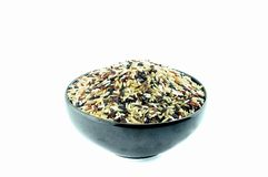 Bowl of uncooked mixed rice Royalty Free Stock Photos