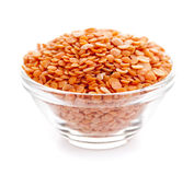 Bowl of uncooked red lentils Royalty Free Stock Images