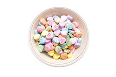 Bowl of valentine candy. A bowl of valentine candy royalty free stock photography
