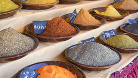 Bowl variety of colorful spices and different flavors, spices tr Royalty Free Stock Images