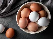 Bowl of various eggs Stock Photo