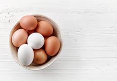 Bowl of various fresh eggs Royalty Free Stock Image