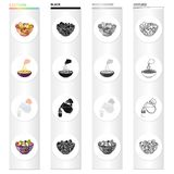 A bowl with various kinds of nuts, food fruit salad. pasta, jug and a glass of milk. Fruit and dessert set collection. Icons in cartoon black monochrome outline Stock Photo