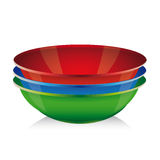 Bowl vector set - red, blue, green Royalty Free Stock Images