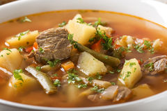 Bowl of vegetable beef soup. Close up of bowl of vegetable beef soup Royalty Free Stock Image