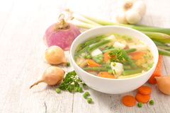 Bowl of vegetable broth royalty free stock photo