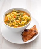 Bowl with vegetable curry thai soup Royalty Free Stock Photo