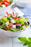 Bowl of Vegetable Salad with Feta and Olives Royalty Free Stock Photography