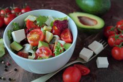 Bowl with vegetable salad Stock Image