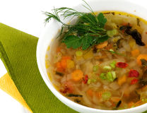 Bowl of Vegetable Soup. Decorated wih dill and parsley closeup Stock Photo