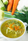 Bowl of vegetable soup with fresh vegetables Royalty Free Stock Image