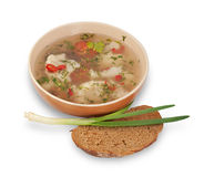 Bowl of vegetable soup, onion and slice of bread isolated Stock Photography