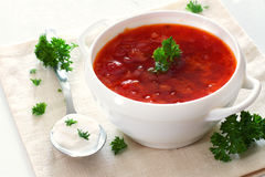 Bowl of vegetable tomato soup Stock Image