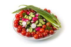 Bowl of vegetables isolated on white Royalty Free Stock Photos