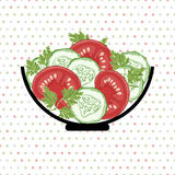 Bowl with vegetables  on a polka dot background. Vector illustra Stock Photography