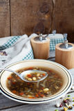 Bowl of Vegetarian bean and lentil soup Stock Images