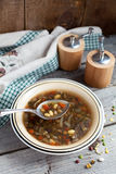 Bowl of Vegetarian bean and lentil soup Royalty Free Stock Photography