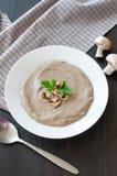 Bowl of vegetarian mushroom soup Stock Image