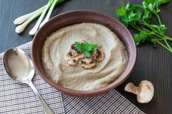 Bowl of vegetarian mushroom soup Royalty Free Stock Image