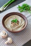 Bowl of vegetarian mushroom soup Royalty Free Stock Images