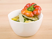 Bowl of vegetarian soup on wooden background Stock Photo