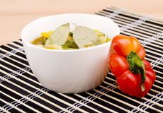 Bowl of vegetarian zucchini and paprika soup Stock Photos