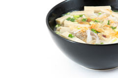 Bowl of Vietnamese pho bo,noodle soup served with onions and cil Stock Images
