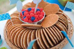 Bowl with waffles Royalty Free Stock Images