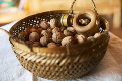 Bowl of walnuts Stock Photography