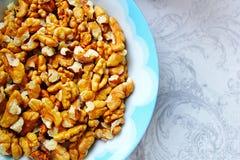 A bowl of walnuts , baking ingredient Royalty Free Stock Image