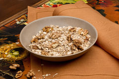 Bowl with walnuts and muesli. Bowl with nuts and muesli on table-napkin Stock Photography