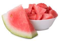 Bowl with watermelon and slice Stock Images