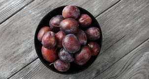 Bowl of wet ripe plums. Top view of round bowl filled with ripe wet purple plums and served on gray wooden table royalty free stock photography