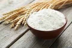 Bowl of wheat flour Stock Photos